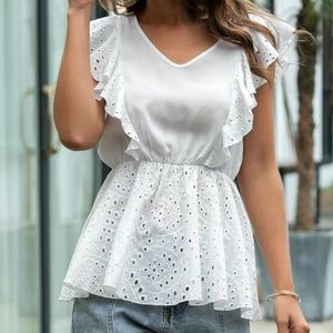 New Embroidery Ruffle Peplum Blouse from SHEIN